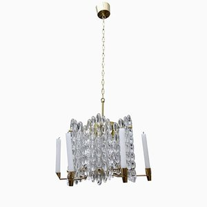 Brass and Glass Chandelier with Molded Panels