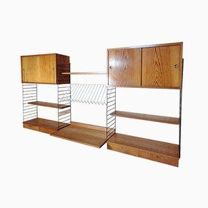Unità di mensole grande con scrivania di Nisse Strinning per String, anni '50