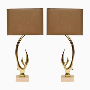 Brass Antler Table Lamps by Willy Daro, Set of 2