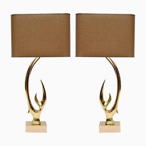 Lámparas de mesa con cuernos de latón de Willy Daro. Juego de 2
