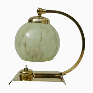 Art Deco Nachtlampe aus Messing & Geflammtem Glas