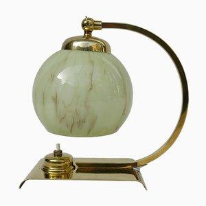 Lámpara de mesita de noche Art Déco de latón y vidrio