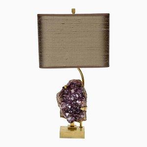 Lámpara de mesa vintage de latón y amatista