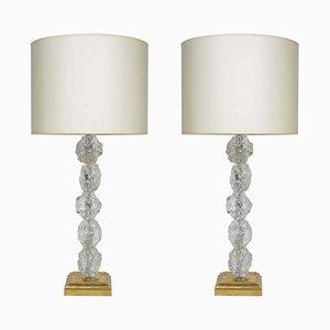 Vintage Murano Glas Tischlampen, 2er Set