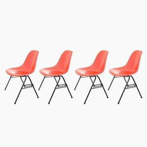 Rote DSS-N Beistellstühle von Charles & Ray Eames für Herman Miller, 1950er, 4er Set