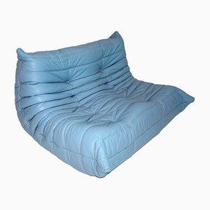 Blaues Vintage Leder Love Seat Togo von Michel Ducaroy für Ligne Roset