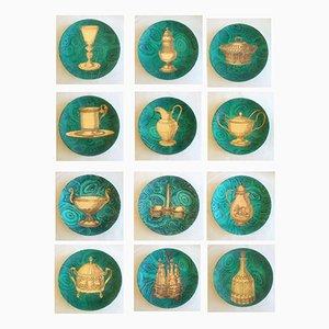 Piatti Stoviglie vintage color verde malachite di Piero Fornasetti, set di 12