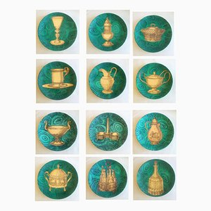Vintage Stoviglie Malachite Plates by Piero Fornasetti, Set of 12