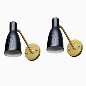 Vintage Brushed Brass and Black Cone Wall Lights, Set of 2