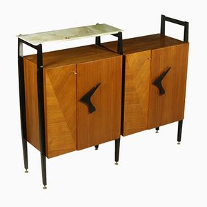 Living Room Cabinet in Maple and Mahogany Veneer, 1950s