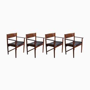 Sedie da pranzo in palissandro con braccioli di Arne Vodder per Sibast Furniture, anni '60, set di 4