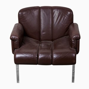 Dark Brown Leather Eurochair from Girsberger, 1970s