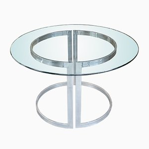 Chrome Dining Table with Glass Top by Milo Baughman, 1970s