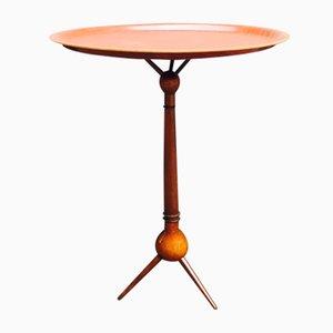 Tavolino tripode in noce e teak di Severin Hansen, anni '50