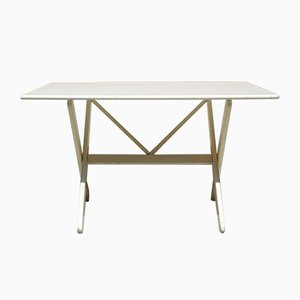 Weiß Lackierter Eichenholz Schreibtisch, 1970er