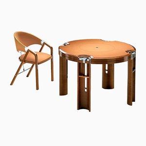 Mesa de juegos de madera clara de nogal de J. Tresserra, 1987