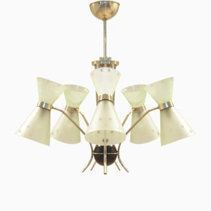 Mid-Century French Diabolo Shaped Glass & Brass Chandelier