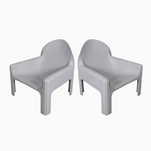 White Model 4794 Lounge Chairs by Gae Aulenti for Kartell, 1974, Set of 2
