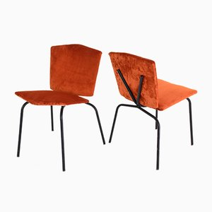 Chaises Mid-Century en Velours, France,Set de 2