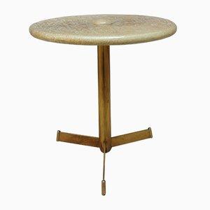 Tavolo in ottone e pergamena di Tura Milano, anni '60