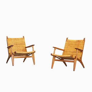 Oak and Woven Cane Lounge Chairs by Hans J. Wegner for Carl Hansen, 1949