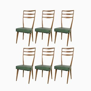 Italian Walnut and Skai Chairs from Cantù, 1950s, Set of 6