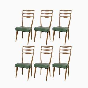Italienische Nussholz und Skai Stühle von Cantù, 1950er, 6er Set