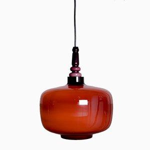 Lámpara colgante de vidrio opalino de Hans Agne Jakobsson para Svera, años 60