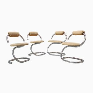 Italian Sculptural Dining Chairs by Giotto Stoppino, Set of 4