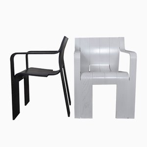 Strip Chairs in Black & White by Gijs Bakker for Castelijn, 1974, Set of 2