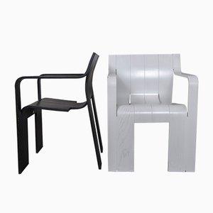 Strip Stühle in Schwarz & Weiß von Gijs Bakker für Castelijn, 1974, 2er Set