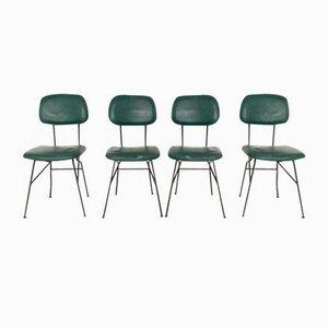 Italienische Metall und Skai Stühle, 1950er, 4er Set