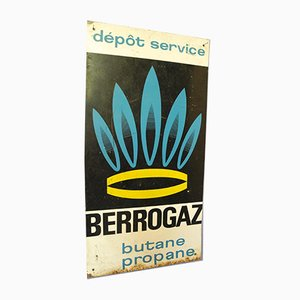 French Industrial Berrogaz Gas Depot Advertising Sign
