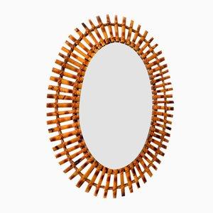 Specchio ovale in bamboo, Italia, anni '60