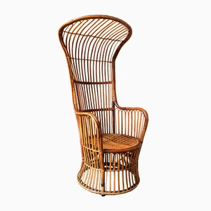 Italian High Back Rattan Woven Armchair from Bonacina, 1950s
