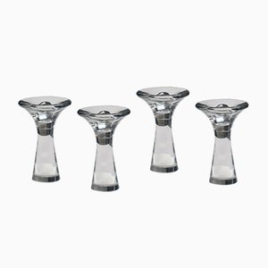 Model 3412 Glass Candle Holders by Tapio Wirkkala for Iittala, 1960s, Set of 4