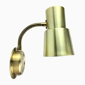 Dänische Mid-Century Wandlampe aus Aluminium & Messing