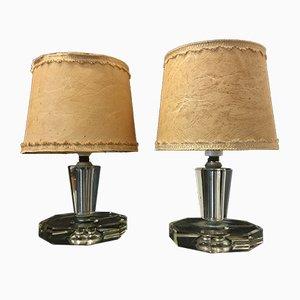 Lampes de Bureau Vintage en Verre de Cristal Art, Italie, 1950s, Set de 2