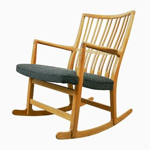 Rocking Chair ML-33 avec Sculpture Florale par Hans J. Wegner pour Mikael Laursen, 1940s