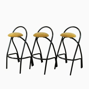 Italian Vintage Iron Bar Stools, Set of 3