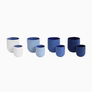 Tazze Sum con finiture blu di De Intuïtiefabriek, set di 4