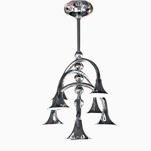Lámpara de techo italiana con reflectores en forma de trompeta, años 60