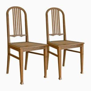Deutsche Antike Eichenholz Esszimmerstühle, 2er Set