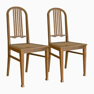 German Antique Oak Dining Chairs, Set of 2