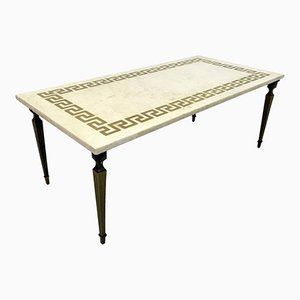 White Marble & Brass Coffee Table, 1950s