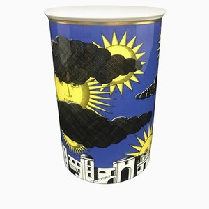 German Porcelain IL Sole Di Capri Vase by Piero Fornasetti for Rosenthal, 1990s