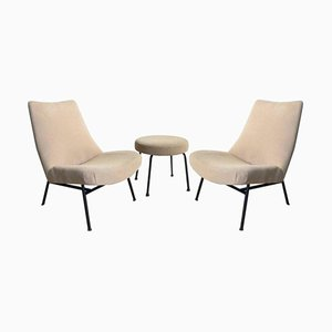Mid-Century Lounge Chairs with Matching Stool by Pierre Guariche, Set of 3