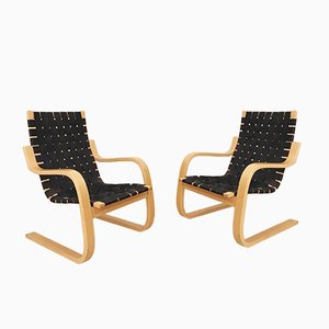 Vintage Modell 406 Sessel von Alvar Aalto für Artek, 2er Set