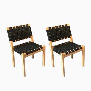 Vintage Modell 611 Stühle von Alvar Aalto für Artek, 2er Set