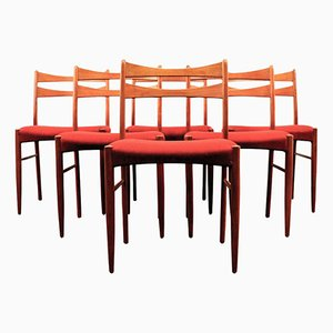 Chaises de Salon Vintage en Teck en Tissu Rouge Vin, Danemark, Set de 6